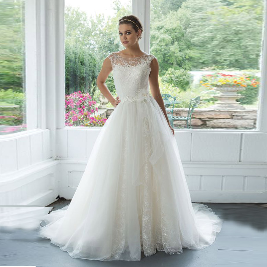 Ball Gown Wedding Dress White Design Scoop A-Line Illusion Sabrina Sequined Neckline With Venice Lace Gown Bridal Dresses