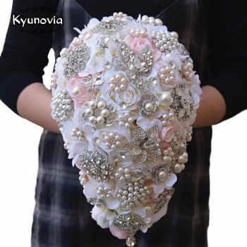 Kyunovia Vintage Blush Cascading Bouquet Teardrop Butterfly Brooch Bouquet Pearl Alternative Bouquet Crystal Wedding Flower FE68 - DISCOUNT ITEM  5 OFF Weddings & Events