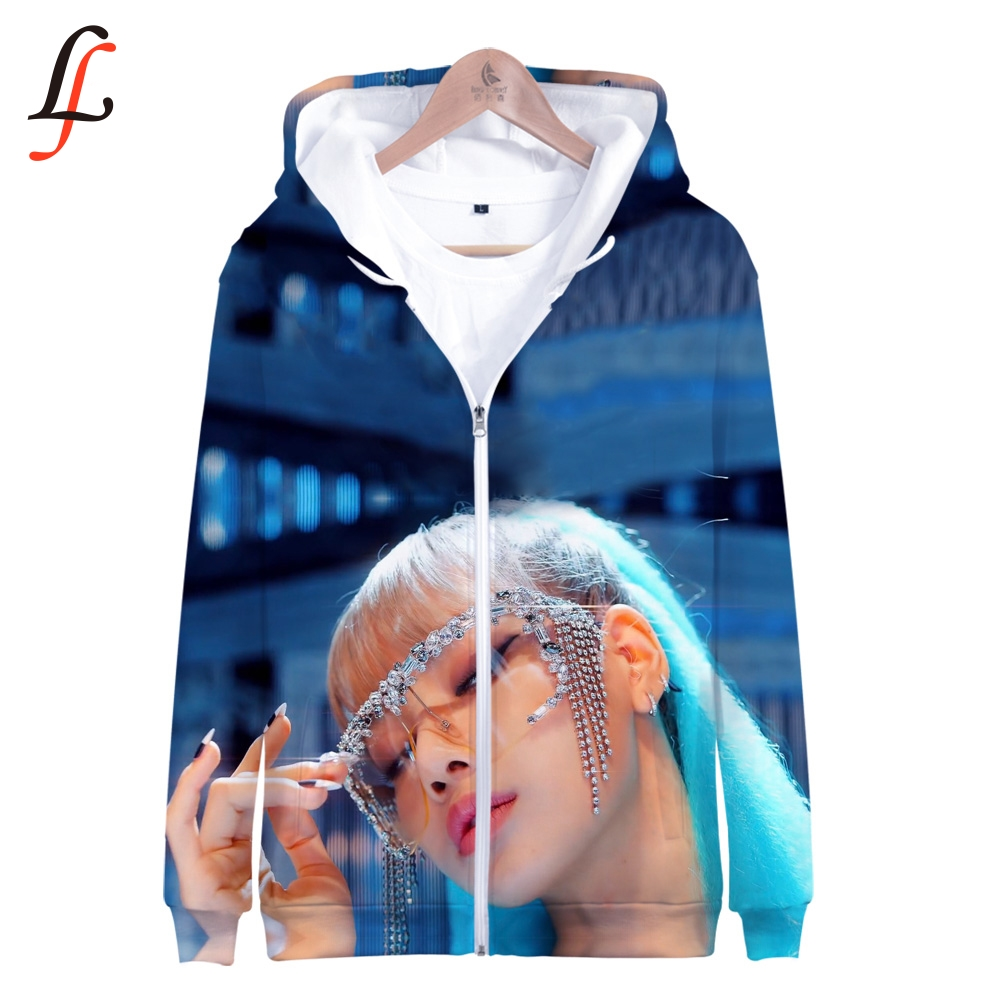 Blackpink killthislove 3D K Pop Zíper para cima Hoodies Moletons harajuku Camisola Tops Bordado Casual Streetwear Moletom 2019