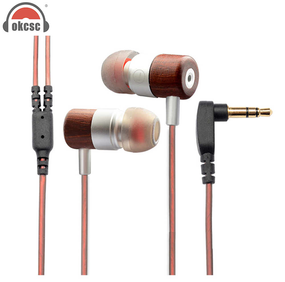 OKCSC Hybrid Dynamic1BA+1DD Headset HiFi In Ear Earphone Wooden Earphones Noise Canceling Headsets Piston Double Unit Super Bass original xiaomi xiomi mi hybrid earphone 1more design in ear multi unit piston headset hifi for smart mobile phone fon de ouvido