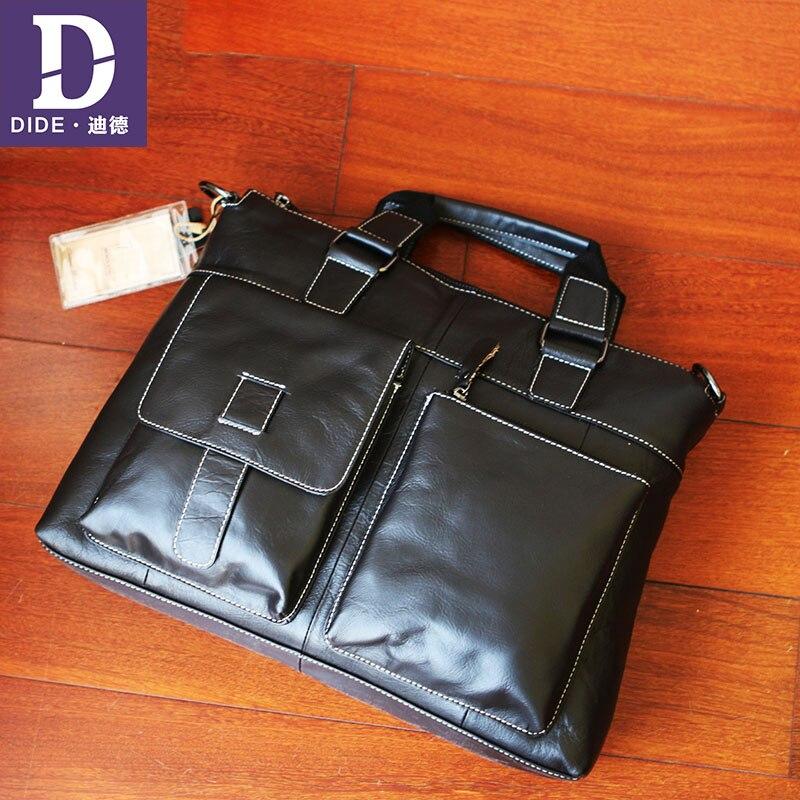 DIDE 2019 Cowhide Briefcases Genuine Leather Men's Business Men Laptop Bag Male Office Briefcase Handbag Shoulder Crossbody bag