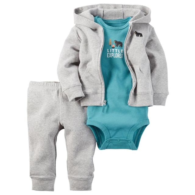 3pcs/set Baby Clothes Set Newborn Baby Boy Casual Long Cotton Coats Girl Autumn Winter Bodysuit Fashion Cardigan Infant Costume