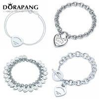 DORAPANG Heart Shaped Bracelet Bangle 100 925 Sterling Silver Heart Sign Pendant Simple Design For Women