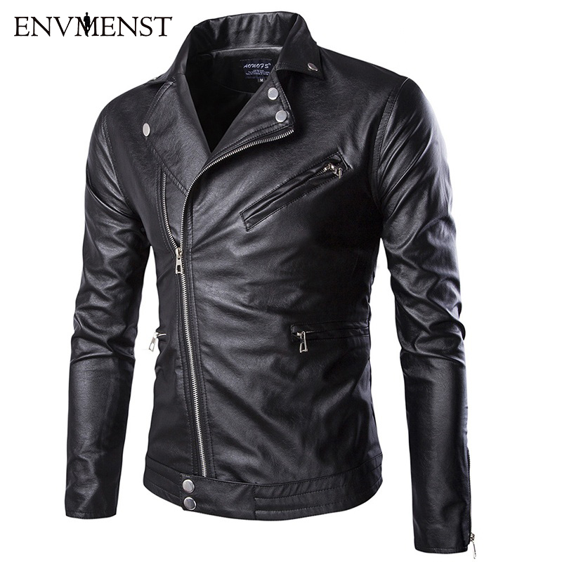 2017 Men Leather Jacket Men's Solid Fashion Europe Style Casual Male PU Motorcycle Leather Jacket Slim Fit Plus Size 5XL
