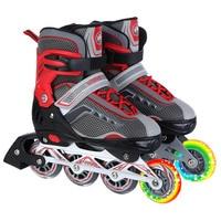adult adjustable single row roller skates, PP brake roller skates with independent brake, flashing PU wheel inline skates