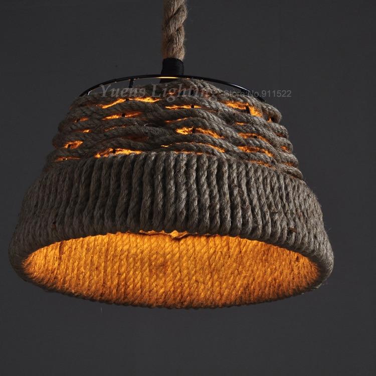 Dia 38CM Retro Pendant Lights Industrial light Hanging Lamp Hemp Rope Light Fixture 110-240V vintage pendant light oak wood retro lamp 100cm wire e27 socket hanging triangle rope light fixture 100 240v luminaire lamparas