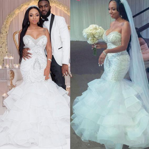 2019 Sexy Mermaid Wedding Dresses Sweetheart Crystal Pearls Beaded Embroidery Ruffled Layered Nigerian Bridal Wedding Gowns