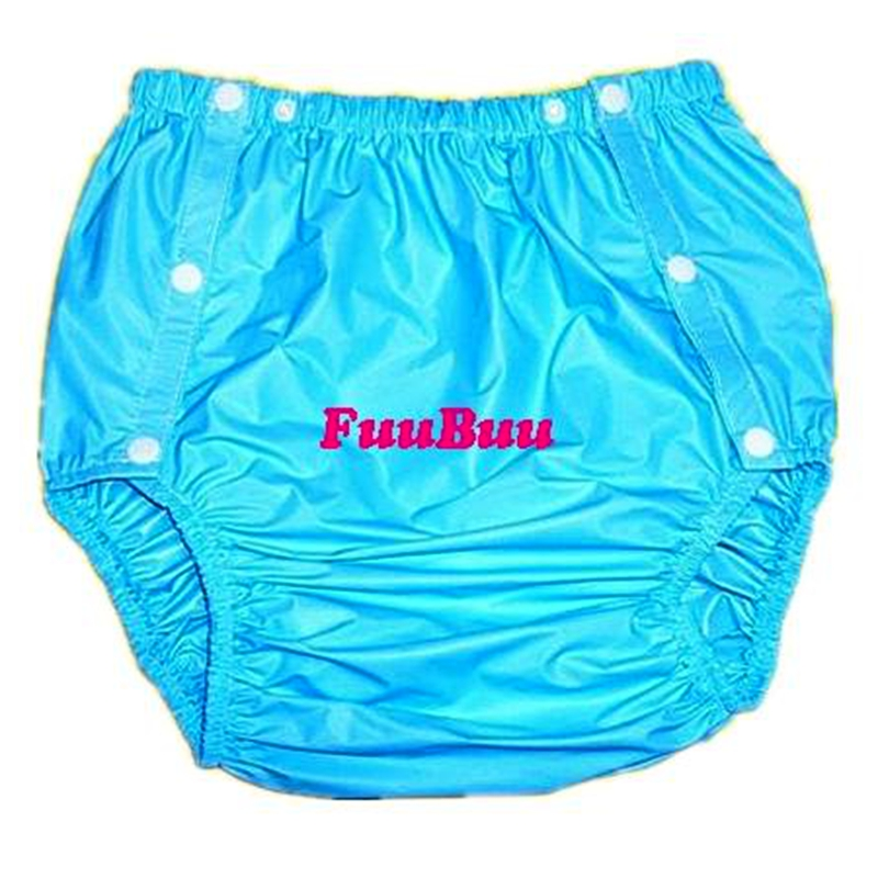 Free shipping FUUBUU2203-Blue-L-1PCS adult diapers non disposable diaper plastic diaper pants pvc shorts image
