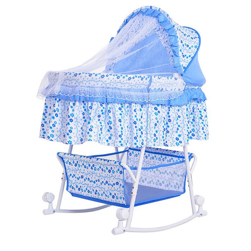 2017 New New Arrival Baby Bassinet Portable Baby Bed Band Mosquito Net Cradle Multifunctional Shaker With Wheels Perambulatory baby cradle bed hammock baby swing 0 12 iron beds with wheels mosquito net cyet6