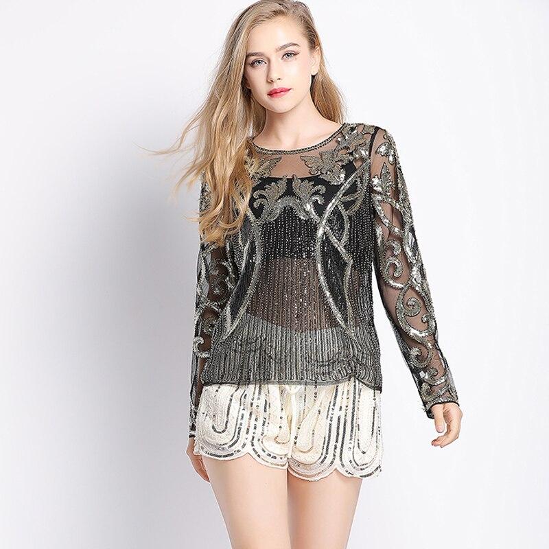 Sexy Designer Beaded Sequin Blouse Long Sleeve See-Through Sheer Mesh Shirt  Top Floral Strip 4825dfa3b1d6