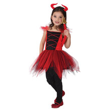 Child Kids Girls Red Devil Devilkin Demon Costume Mini Tutu Dress with Horn Tail Halloween Carnival Party Fancy Cosplay Costumes