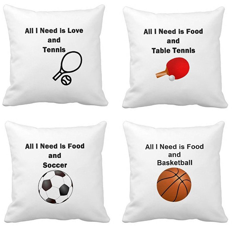 Luxury Print All I Need Is Food And Basketball Soccer Table Tennis Square Throw Pillowcase Soft Zippered Pillow Cover Twin Sides