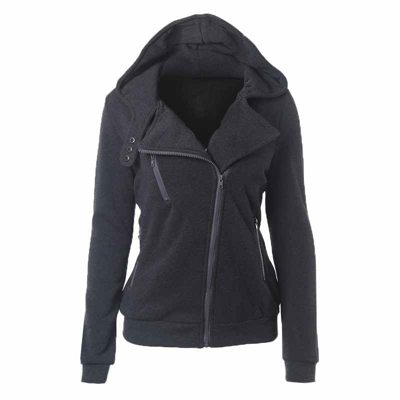 Litthing Весна молния теплые модные толстовки с капюшоном для женщин длинным рукавом куртки Перемычка Hoody пальто Верхняя одежда женские свитшоты