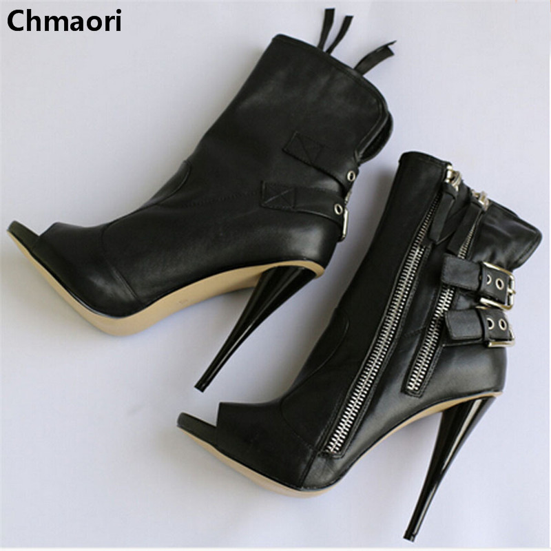 new fashion peep toe double ankle strap spike heel ankle boots genuine leather punk zipper high heel woman pumps abnormal ankle strap folk multi colored catwalk colourful sandal round toe chunky peep pumps pom high quality designer shoe heel