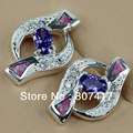 Trendy Wholesale Amethyst Cubic Zirconia  and Pink opal Silver Plated Promotion Recommend Hot  Beautiful  Earrings R4106