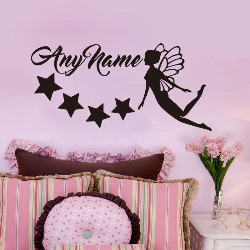 Stars Moon Decal Personalised Name Fairy Mural Vinyl Wall Art Sticker
