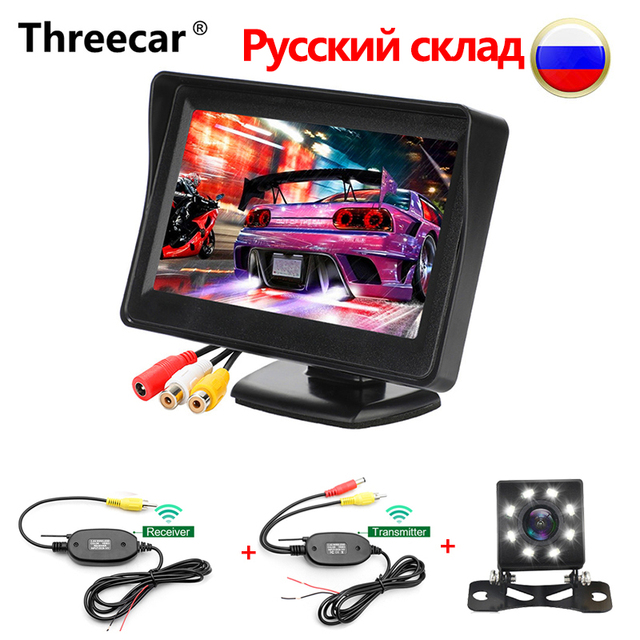 """رصد سيارة HD 4.3 """"TFT LCD السيارات سيارة شاشة عرض ل الرؤية الخلفية كاميرا لموقف السيارات مع عكس شاشة كاميرا PAL/NTSC"""