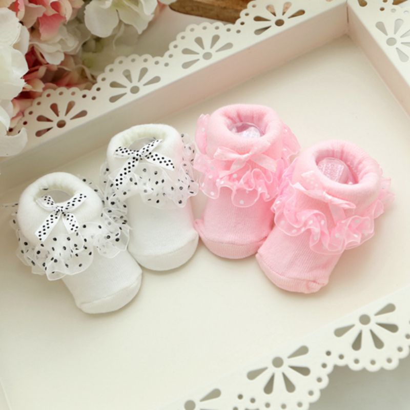 0-6 Month Toddler Infants Cotton Ankle Socks Baby Girls Princess  Bowknots Socks Children Lace Ruffle Frilly Non-slip Socks