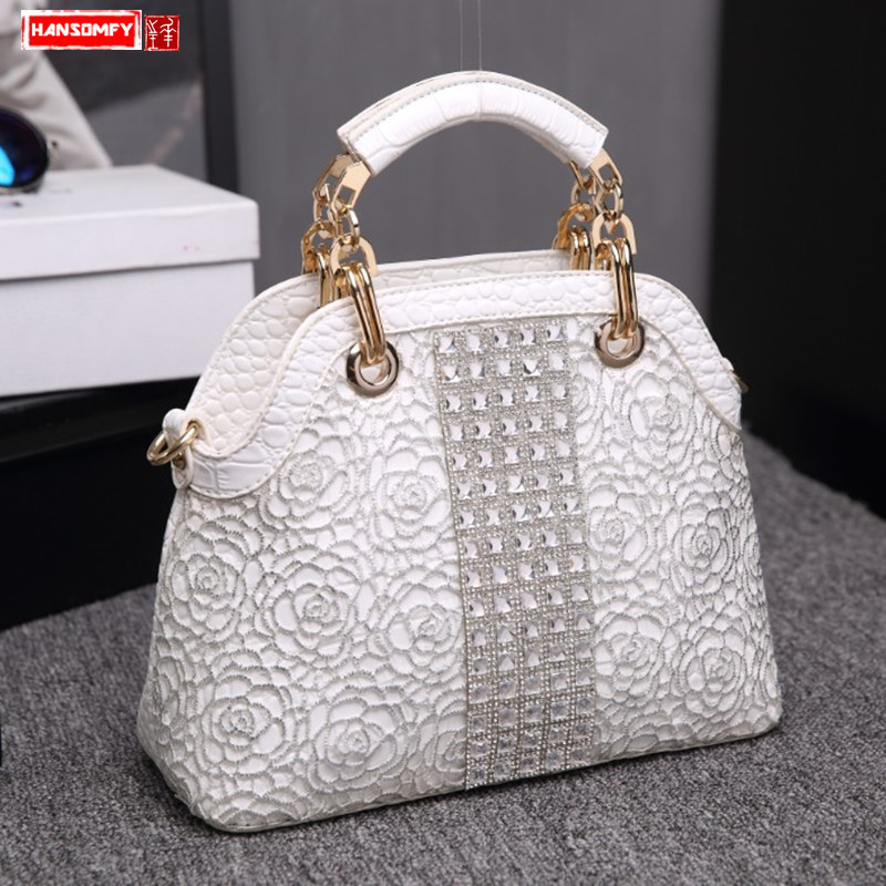 Luxury fashion dismonds lady handbags crocodile leather female shoulder slung shell bag lady white rhinestone messenger bagsLuxury fashion dismonds lady handbags crocodile leather female shoulder slung shell bag lady white rhinestone messenger bags