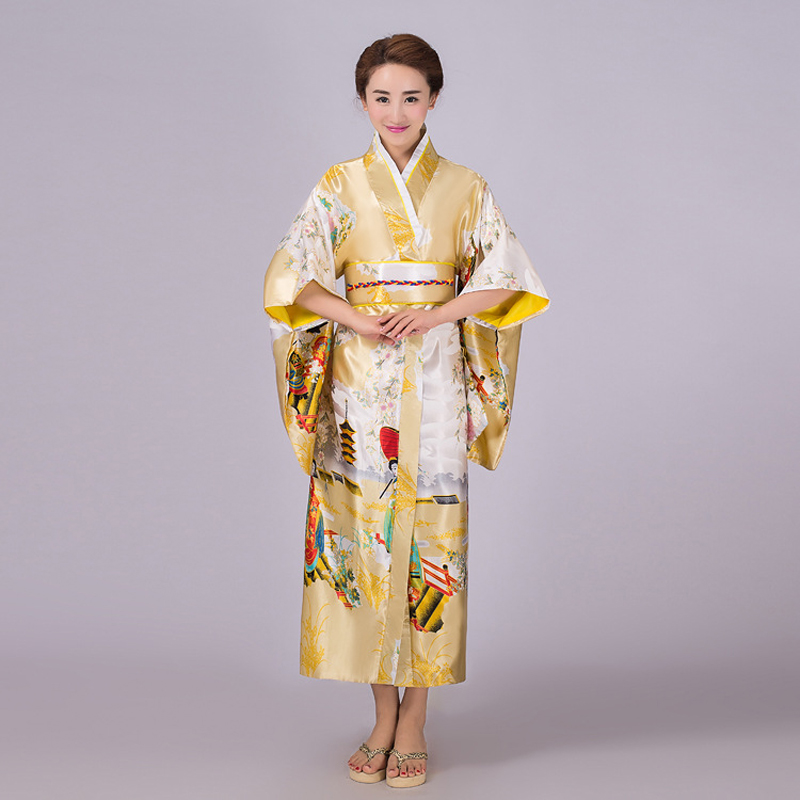 Noblest Gold Japanese Lady Traditional Silk Kimono Gown Yukata With Obi Evening Dress Stage Performance Costumer One Size silk
