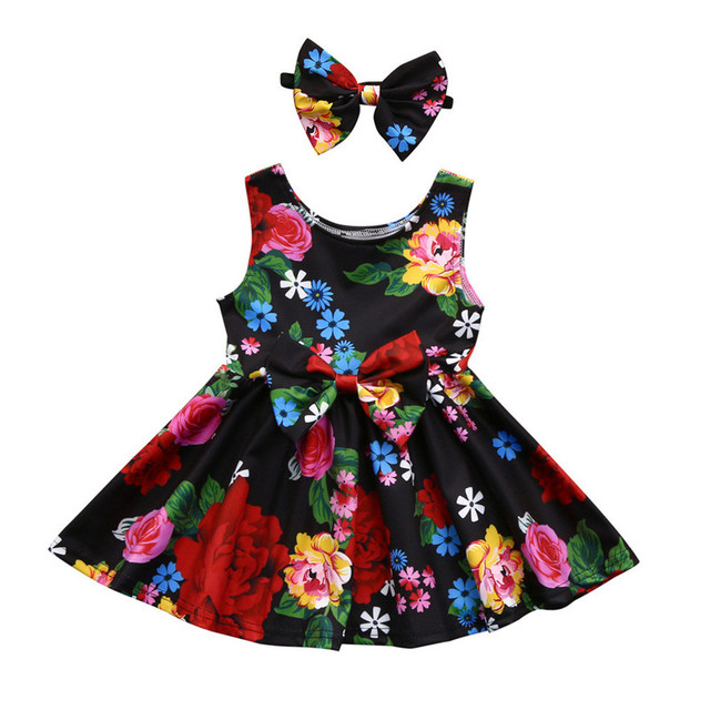 3f69a8c88f9f1 2018 NEW Summer Fashion Simple Toddler Kid Baby Girl Clothes Floral Bowknot  Princess Party Dresses Outfits Children Clothing P5
