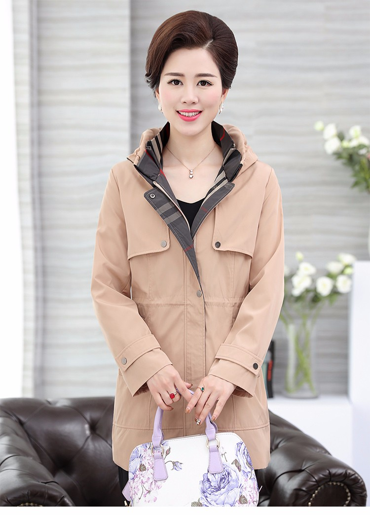 British Style Woman Beige Trench Coat Red Black Overcoat Middle Aged Women\'s Casual Trench Lady Casual Duster Coats 40s 50s 60s Windbreakers (16)