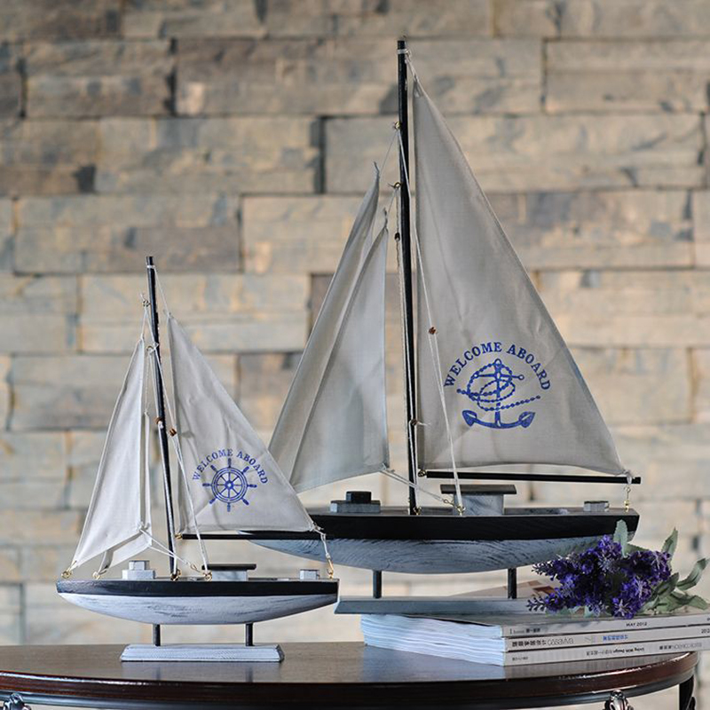 Wooden Ship Model <font><b>Home</b></font> <font><b>Decoration</b></font> Mediterranean Style Single Sailing Ship Model Birthday Gift Mediterranean Style Desk Ornaments