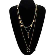 Fashion Exquisite Gold Sequins Circle Choker Necklace Women Penndant Clavicle Statement Jewelry