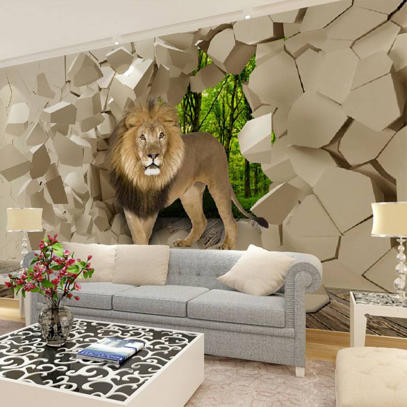 Beibehang Lion Stone Wall Background Graphic Murales Wallpaper For Boys Living Room Papel De Parede Papers Home Decor In Wallpapers From