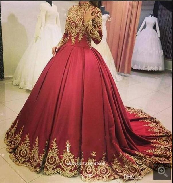 Ball gown Modest women arabic style muslim prom dress high neck gold ...