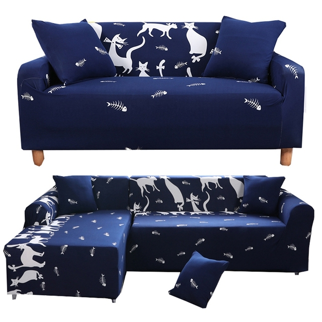 blue white cats universal stretch furniture covers for living room