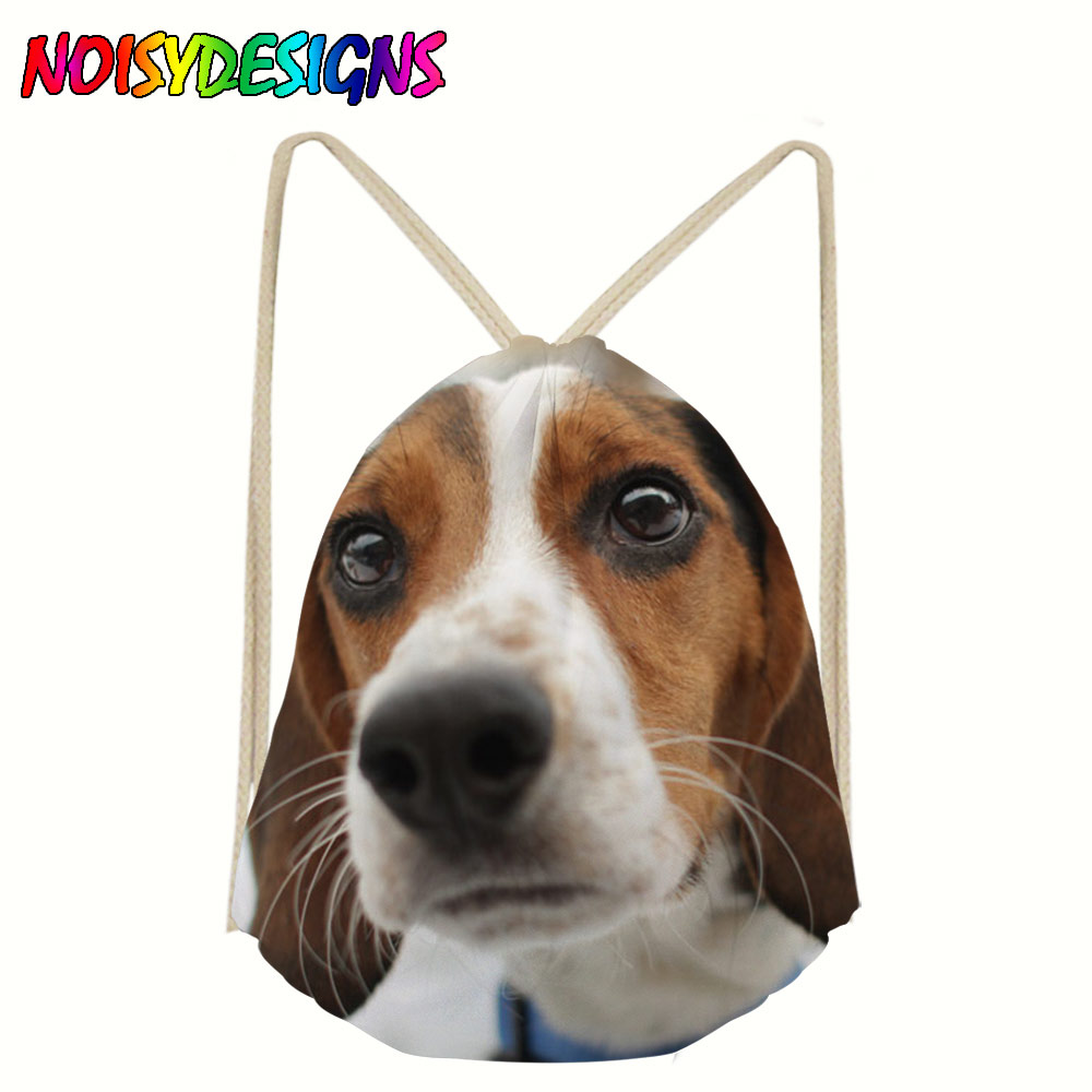 3D Beagle Printing Women Drawstring Backpack Dog Pattern Mochila Bolsa Man Bags Travel Storage Package School Drawstring Bag
