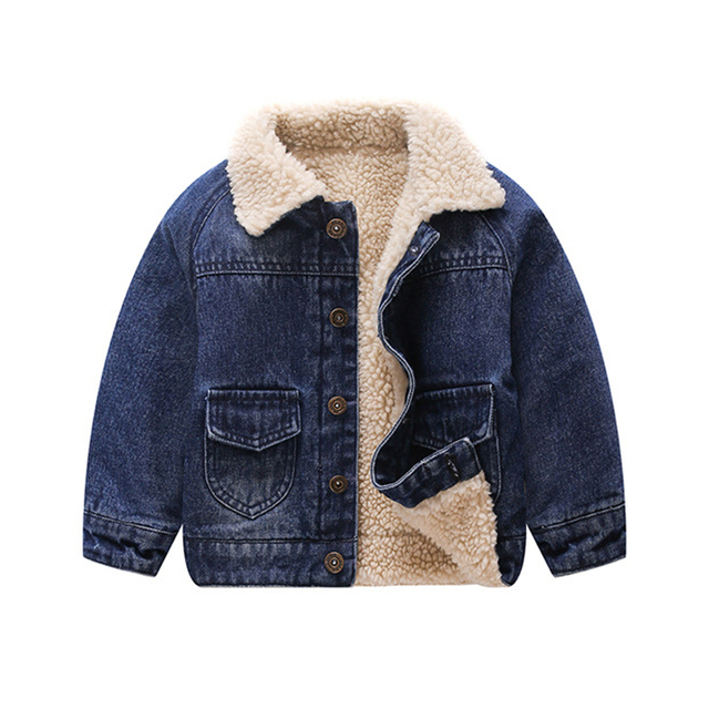 573fa9f2a Winter Jackets For Girls Plus Velvet Cashmere Thick Warm Denim ...