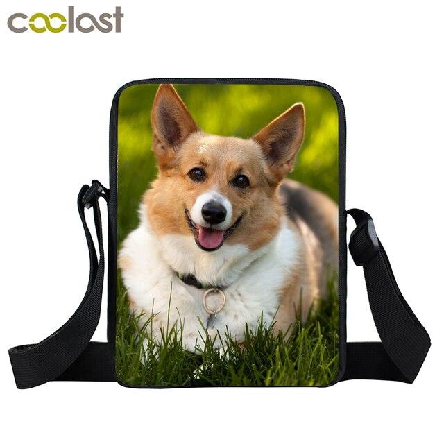 Corgi Dog Mini Messenger Bags Women Kawaii Puppy Handbags Boys Girls  Crossbody Bags Ladies Shoulder Bag