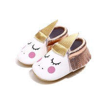 New Unicorn Baby Shoes PU Leather Soft Sole Toddlers Boy Girl First Walker Moccasins for Party