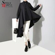Корейский стиль, женская однотонная черная летняя повседневная рубашка, блуза, дизайнерская хипстеркая милая женская рубашка с удлиненной спиной, женская рубашка, 3808