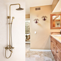 Vidric Shower Faucets Antique Brass Shower Set Faucet Tub Mixer Tap Handheld Shower Wall Mounted Rainfall Bath Crane Shower W
