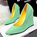 Краткие Мелкой Офиса Клинья Обувь 2016 Новое Прибытие женской Моды твердые Замши Острым Носом Туфли На Каблуках для Женщин 6 цвета