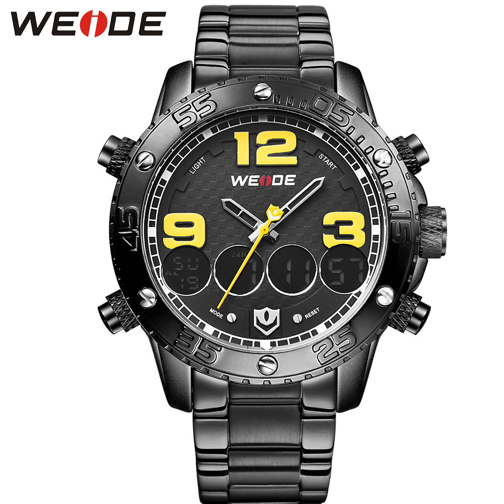 WEIDE Popular Brand Fashion Luxury Black Stainless Steel Watch Men Casual Clock 30m Waterproof Big Numbers Dial With Alarm weide high quality watch men luxury brand big dial 3atm water resistant stainless steel back lcd wristwatches with alarm items