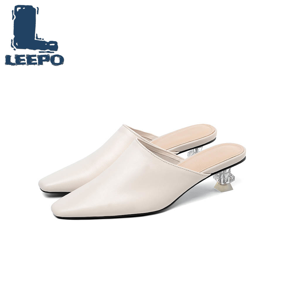 LEEPO Mules Shoes Women Genuine Leather Slippers Woman Slides Shoes Female Handmade Sandals Fenty Beauty Fashion