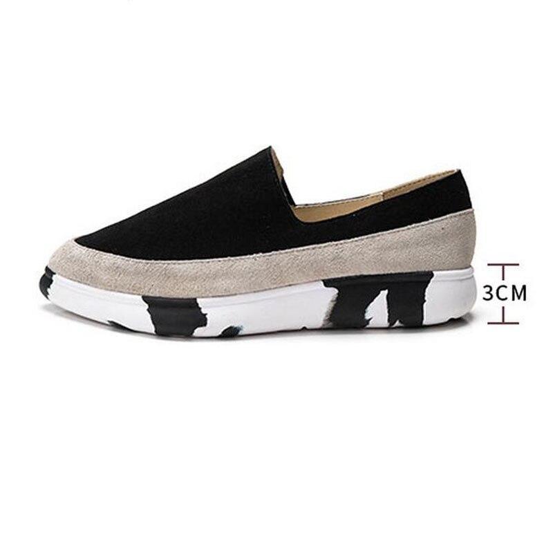Hight colors New 2019 zapatos planos de plataforma de mujer negro rojo cuero genuino marca de lujo mujer calzado Loafer para damas HC3 17-in Zapatos planos de mujer from zapatos    2