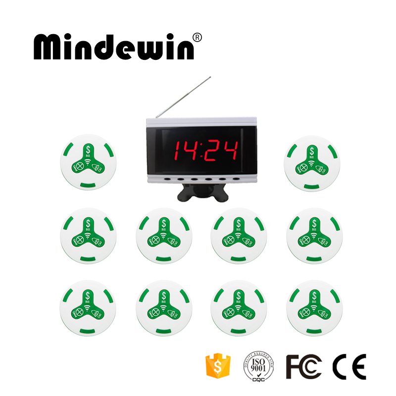 Mindewin 433MHz Restaurant Pager Wireless Calling System with 1pc Voice Report Receiver Host +10pcs White Call Button Pager 433mhz restaurant pager wireless calling paging system watch wrist receiver host 10pcs call transmitter button pager f3255c