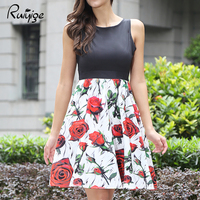 2017 RUIYIGE Luxury Fashion Pretty Floral Rose Dress Four Color Sexy Tank Sleeveless Party Beach Wedding