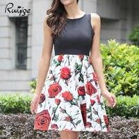 2017 ruiyige الفاخرة أزياء جميلة الزهور روز اللباس أربعة لون مثير تانك أكمام حزب فستان زفاف الشاطئ المطبوعة vestitos