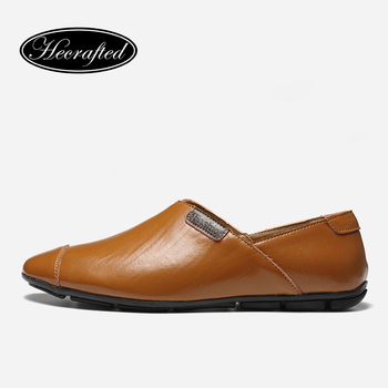 plus  men casual shoes Cow Leather Men Moccasins 2018 Fashion Hecrafted Comfortable men shoes #YK8007