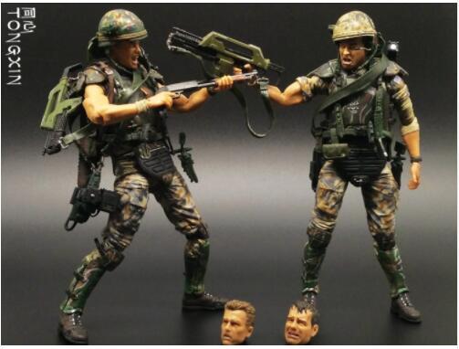 7 Inch Alien VS Predators Warrior Mercenaries Soldiers Weapons Moving Doll Model NECA Toys Action Figure T69