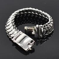 AMUMIU 24cm*20mm Top Quality 316L Stainless Steel Chain Link Bracelet Hot Biker Punk Fashion Gift Design Bracelet HZB116