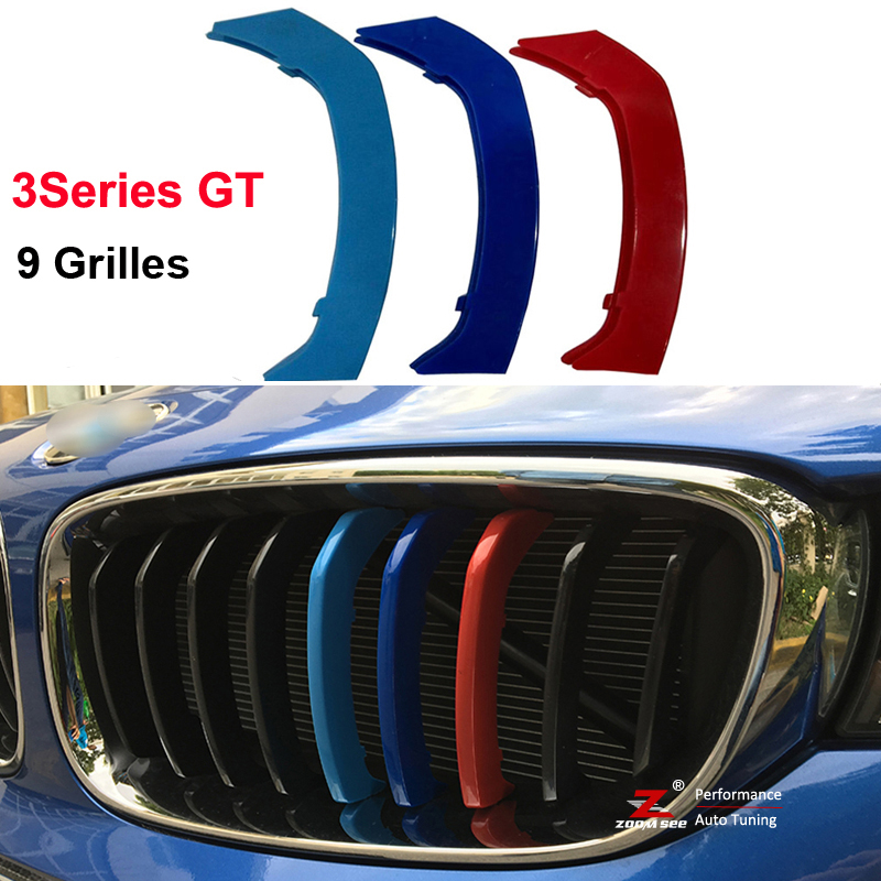 3D color Front Grille Trim Strips Cover Stickers for 2013-2016 BMW 3 Series GT 3GT F34 328i 320i 335i xDrive with 9 Grilles single grid gloss black front bumper grill replacement for bmw 3 series f34 gt gran turismo 320i 328i 335i 2013 2014 2015 2016