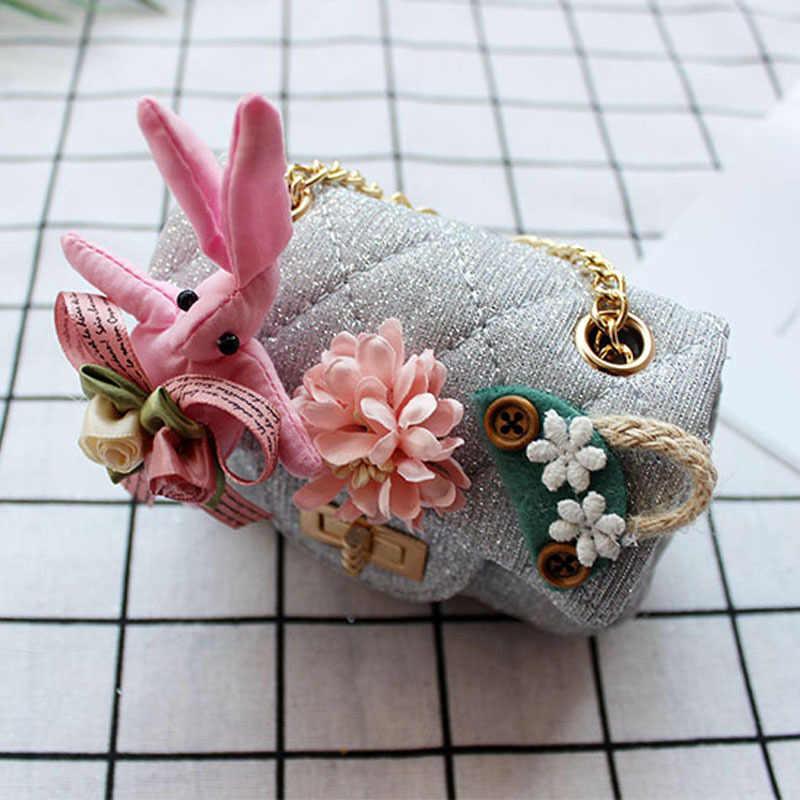 Floral de algodão coelho crianças organizador da bolsa da moeda das mulheres carteira pequena bolsa de telefone saco de dinheiro carteira bolsa feminina para meninas