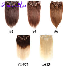 Clip In Natural Human Hair Extensions blond 613 7pcs/Set Remy Straight Hair Full Head Clip Ins Hair Extension Set